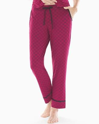 Cool Nights Satin Trim Ankle Pajama Pants Weekend Plaid Cranberry