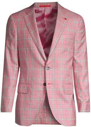 Isaia Plaid Cashmere & Silk Single-Breasted Jacket