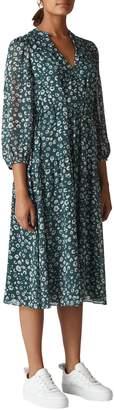 Whistles Adrianna Cheetah Print Midi Dress