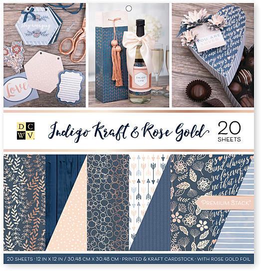 Indigo Kraft & Rose Gold Foil Double & 20 Sheets