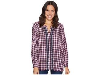 Jag Jeans Casper Shirt in Yard Dye Cotton Rayon Plaid Women's Long Sleeve Pullover