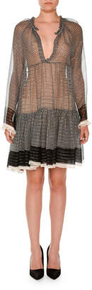 Stella McCartney Long-Sleeve Boho Peasant Dress, Black