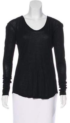 L'Agence Long Sleeve Scoop Neck Top