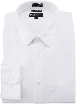 Neiman Marcus Classic-Fit Non-Iron Solid Textured Dress Shirt, White