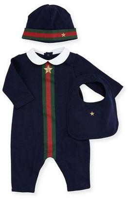 Gucci Web-Trim Jersey Coverall Gift Set, Gray, Size 0-12 Months $290 thestylecure.com