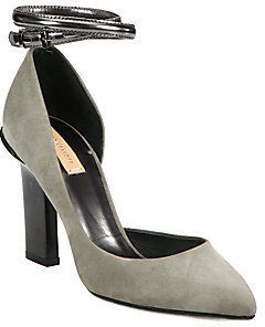 Reed Krakoff Suede and Metallic Leather Ankle Strap D'Orsay Pumps