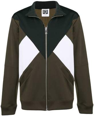 Les Hommes Urban zipped tri-colour sweater