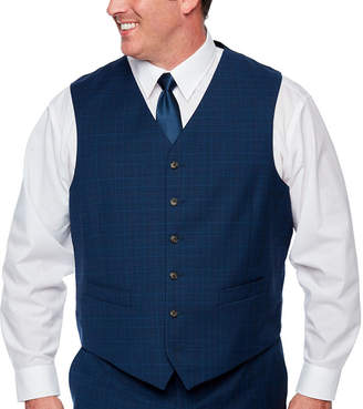 STAFFORD Stafford Blue Burgundy Glen Plaid Classic Fit Stretch Suit Vest - Big and Tall