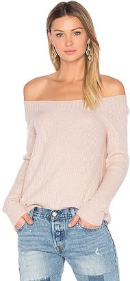 Inhabit Parisienne Off Shoulder Sweater in Blush $341 thestylecure.com