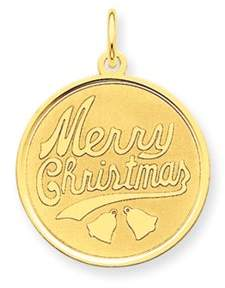 Black Bow Jewelry Company 14k Yellow Gold, Merry Christmas Round Disc Charm, 19mm (3/4 inch)