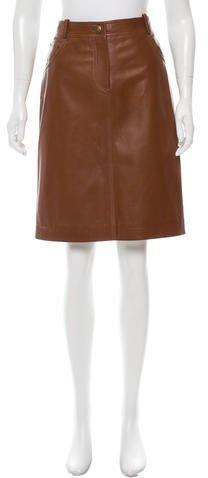 Knee Length Leather Skirt - ShopStyle Australia