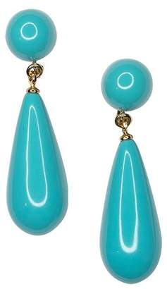 Kenneth Jay Lane Turquoise Teardrop Pierced Or Clip Earrings