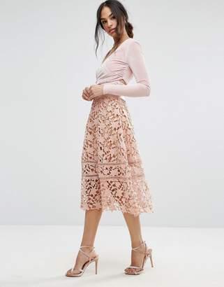 Missguided Premium Crochet Lace Midi Skirt $56 thestylecure.com