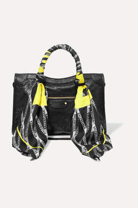Balenciaga Classic City Aj Printed Silk-twill-trimmed Textured-leather Tote