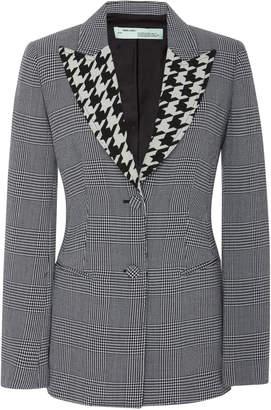 Off-White Paneled Houndstooth Wool-Crepe Blazer