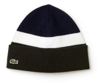 Lacoste Men's Made In France Ribbed Colorblock Turned Edge Wool Beanie