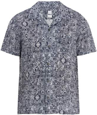 120% Lino 120 LINO Short-sleeved Aztec-pattern linen shirt