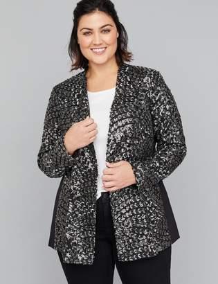 Lane Bryant Fast Lane Metallic Stripe & Sequin Jacket