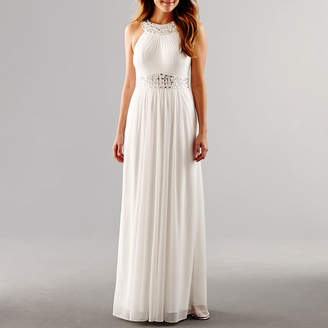 ONE BY EIGHT One by Eight Sleeveless Beaded Halter Formal Gown