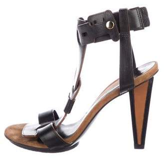Diane von Furstenberg T-Strap Leather Sandals