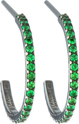 Lana 14k Electric Mini Hoop Earrings, Tsavorite