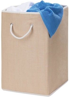 Honey-Can-Do Square Resin Weave Hamper with Rope Handles, Beige/White
