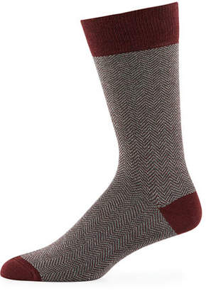 Neiman Marcus Men's Chevron Cotton Socks