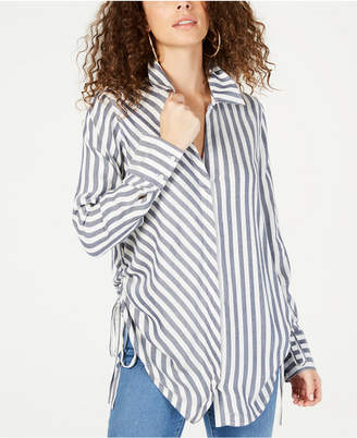 INC International Concepts I.n.c. Striped Ruched Button-Front Shirt