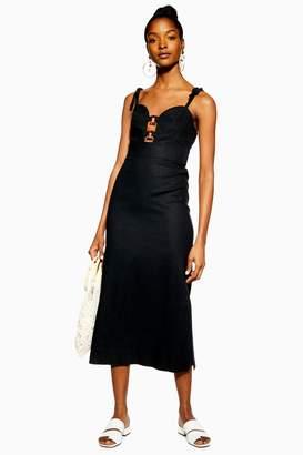 Topshop Black Linen Rich Horn Ring Slip Dress
