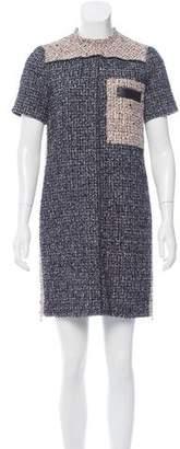 Proenza Schouler Bouclé Leather-Trimmed Dress