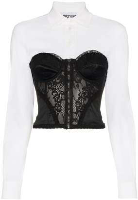 Moschino long sleeve shirt with lace corset