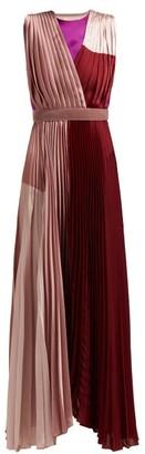 Roksanda Kimora Pleated Satin Gown - Womens - Pink Multi