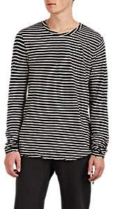 Ksubi Men's Distressed Striped Linen-Cotton T-Shirt - Wht.&blk.
