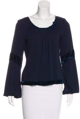 Anna Sui Long Sleeve Velvet-Trimmed Top