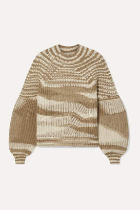 Ulla Johnson Lucille Striped Ribbed Alpaca-blend Sweater - Camel