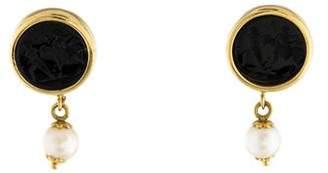 Tagliamonte 18K Carved Onyx & Pearl Drop Earrings
