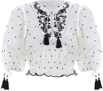 Zimmermann Tali Embroidered Lotus Top