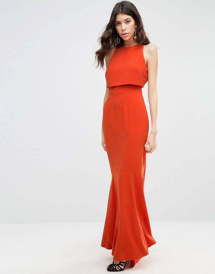 Asos ASOS Crop Top Fishtail Maxi Dress