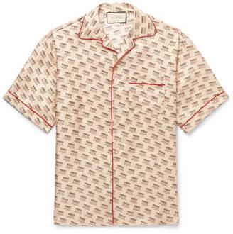 Gucci Camp-Collar Piped Logo-Print Silk-Twill Shirt