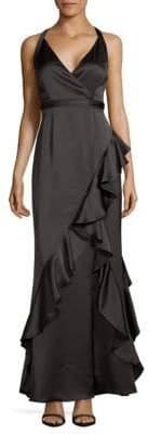 Aidan Mattox Ruffle Satin Wrap Gown