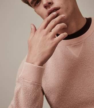 Reiss LAURENCE TEXTURED CREW NECK JUMPER Soft Pink