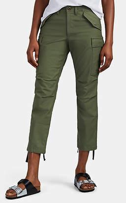 VIS A VIS Women's Slub Cotton Crop Cargo Pants - Olive