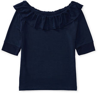 Ralph Lauren Childrenswear Girls 7-16 Solid Ruffled Top $35 thestylecure.com