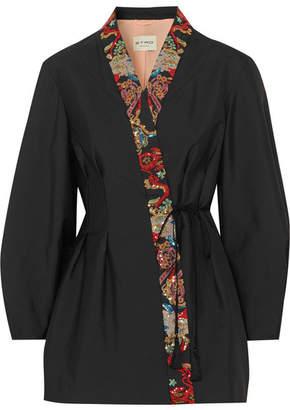 Etro Sequin-embellished Satin Wrap Jacket - Black