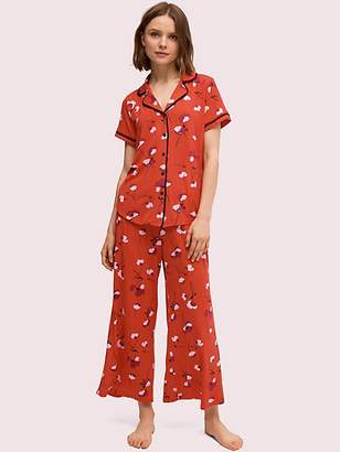 Kate Spade Small Poppies Long Pj Set, Red - Size XS