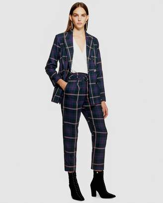 Topshop PETITE Check Belted Trousers