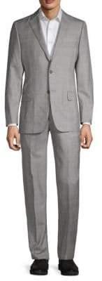 Hickey Freeman Single-Breast Windowpane Wool & Silk Suit
