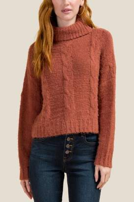 francesca's Nadia Turtle Neck Cropped Sweater - Rust