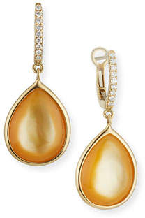 Frederic Sage Luna Yellow Mother-of-Pearl Earrings with Diamonds in 18K White Gold
