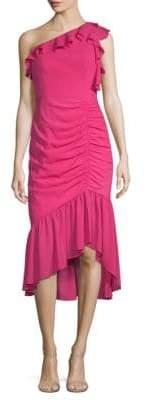 Aidan Mattox One Shoulder Ruched Midi Dress